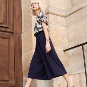 Uniqlo Navy Jersey Cropped Flare Wide Pants XS